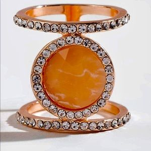 Kkylar Rose Quartz Pave Ring Size 6